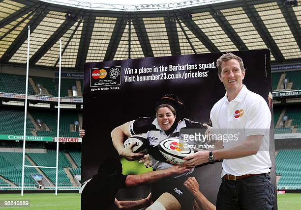 Sam Buckenham poses for pictures with Will Greenwood during MasterCard Be Number 23 Shortlist Day on May 4 2010 in Twickenham The winner will be a...