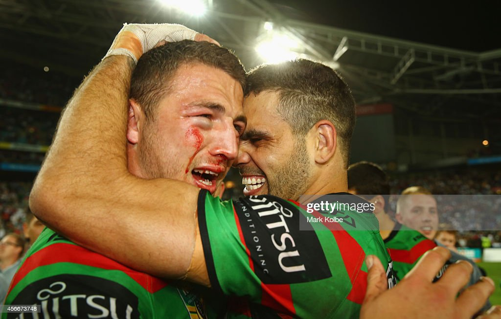 Sam Burgess and Greg Inglis of the Rabbitohs celebrate victory during the 2014 NRL Grand Final match between the South Sydney Rabbitohs and the...
