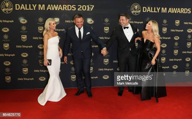 Sam Burgess and Phoebe Burgess laugh with Jared WaereaHargreaves and Chelsea WaereaHargreave ahead of the 2017 Dally M Awards at The Star on...