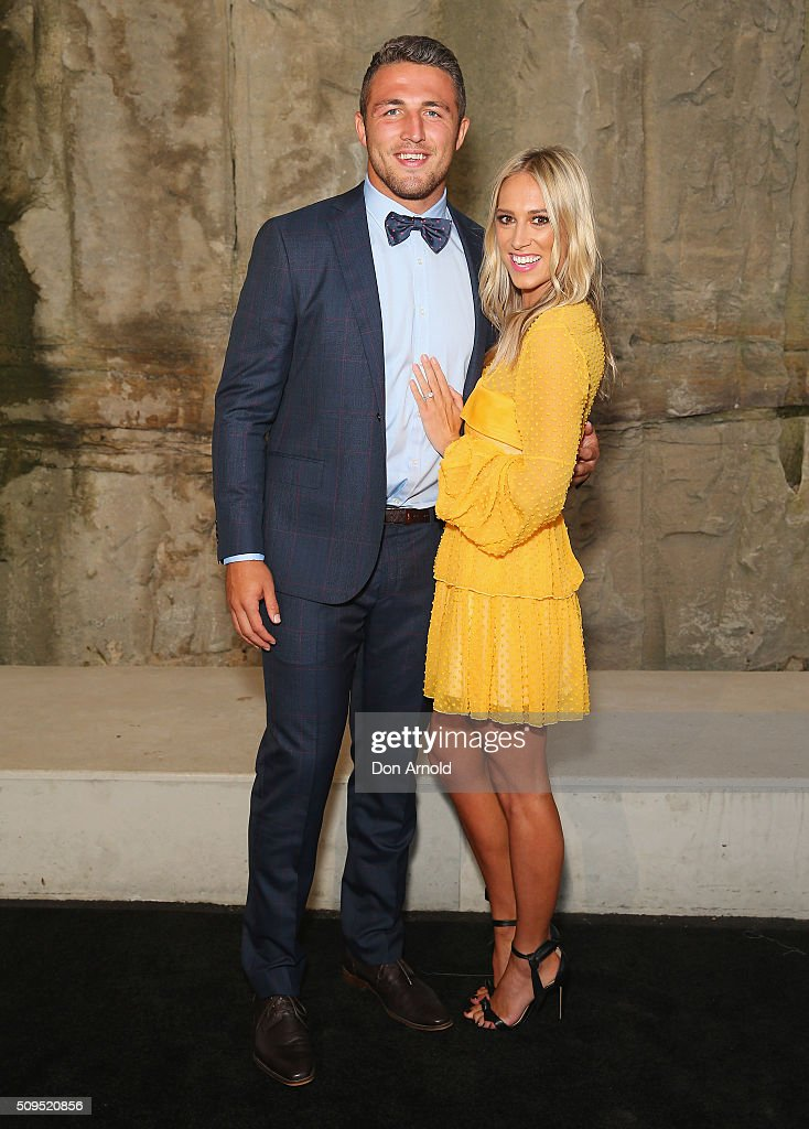 <a gi-track='captionPersonalityLinkClicked' href=/galleries/search?phrase=Sam+Burgess&family=editorial&specificpeople=2650353 ng-click='$event.stopPropagation()'>Sam Burgess</a> and Phoebe Hooke arrive ahead of the Myer AW16 Fashion Launch at Barangaroo Reserve on February 11, 2016 in Sydney, Australia.