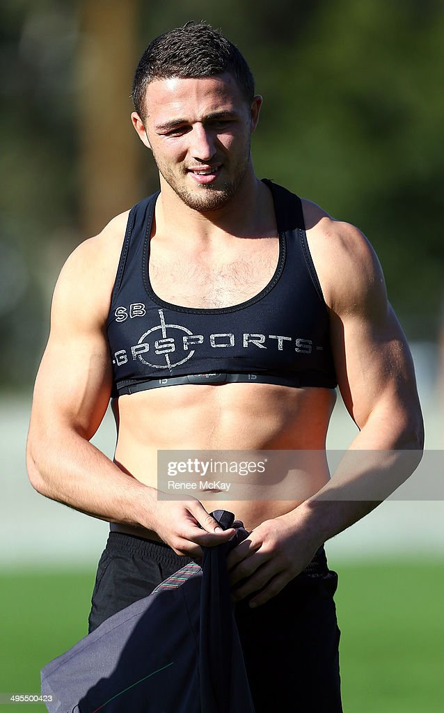 <a gi-track='captionPersonalityLinkClicked' href=/galleries/search?phrase=Sam+Burgess&family=editorial&specificpeople=2650353 ng-click='$event.stopPropagation()'>Sam Burgess</a> arrives at a South Sydney Rabbitohs NRL training session at Redfern Oval on June 4, 2014 in Sydney, Australia.