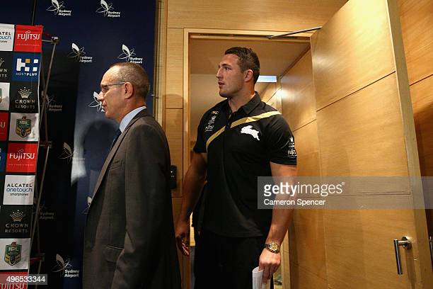Sam Burgess arrives at a South Sydney Rabbitohs press conference at Sydney International Airport on November 11 2015 in Sydney Australia Burgess...