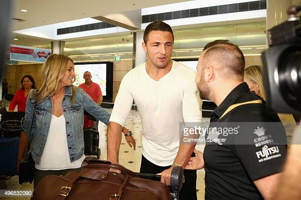 Sam Burgess arrives at Sydney Airport prior to a South Sydney Rabbitohs press conference at Sydney International Airport on November 11 2015 in...