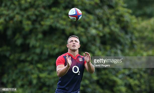 Sam Burgess catches the ball during the England training session held at Pennyhill Park on August 10 2015 in Bagshot England