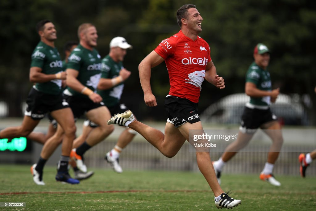 Sam Burgess laughs as he races team mates during the South Sydney Rabbitohs NRL training session at Redfern Oval on February 27, 2017 in Sydney, Australia.