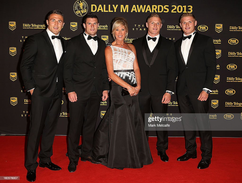 <a gi-track='captionPersonalityLinkClicked' href=/galleries/search?phrase=Sam+Burgess&family=editorial&specificpeople=2650353 ng-click='$event.stopPropagation()'>Sam Burgess</a>, <a gi-track='captionPersonalityLinkClicked' href=/galleries/search?phrase=Luke+Burgess+-+Rugby+League+Player&family=editorial&specificpeople=15419958 ng-click='$event.stopPropagation()'>Luke Burgess</a>, Julie Burgess, <a gi-track='captionPersonalityLinkClicked' href=/galleries/search?phrase=George+Burgess+-+Rugby+League+Player&family=editorial&specificpeople=14024909 ng-click='$event.stopPropagation()'>George Burgess</a> and Thomas Burgess arrive ahead of the 2013 Dally M Awards at Star City on October 1, 2013 in Sydney, Australia.