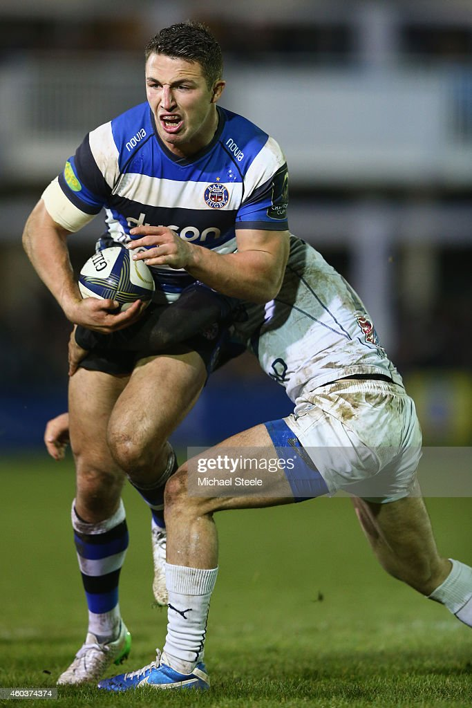 <a gi-track='captionPersonalityLinkClicked' href=/galleries/search?phrase=Sam+Burgess&family=editorial&specificpeople=2650353 ng-click='$event.stopPropagation()'>Sam Burgess</a> of Bath during the European Rugby Champions Cup Pool Four match between Bath Rugby and Montpellier at the Recreation Ground on December 12, 2014 in Bath, England.