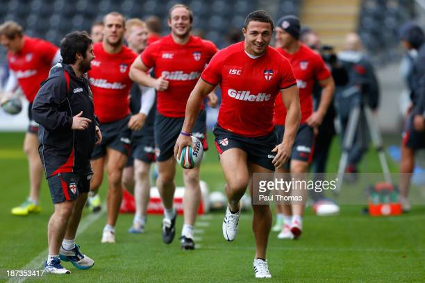 Sam Burgess of England runs during the England Rugby League World Cup training session at the KC Stadium on November 8 2013 in Hull England
