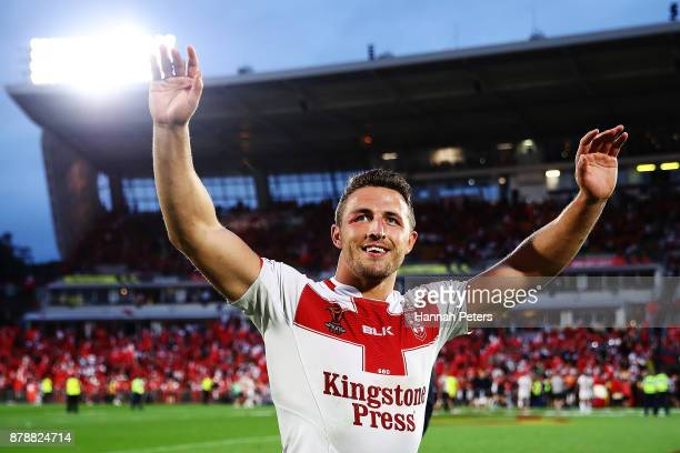 Sam Burgess of England thanks the crowd after winning the 2017 Rugby League World Cup Semi Final match between Tonga and England at Mt Smart Stadium...
