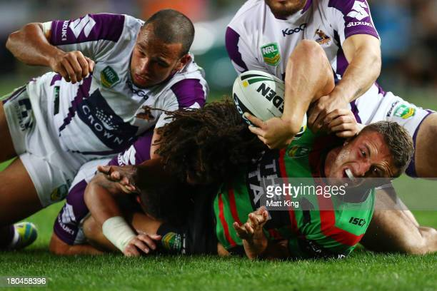 Sam Burgess of the Rabbitohs goes close to scoring during the NRL Qualifying match between the South Sydney Rabbitohs and the Melbourne Storm at ANZ...