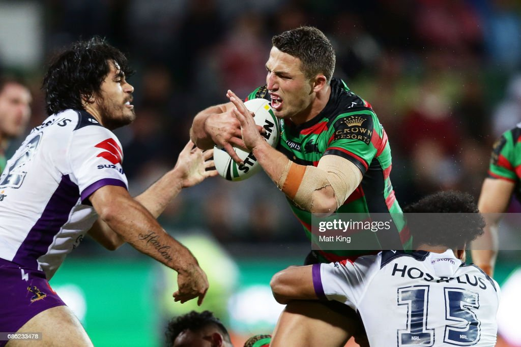 Sam Burgess of the Rabbitohs is tackled during the round 11 NRL match between the South Sydney Rabbitohs and the Melbourne Storm at nib Stadium on May 21, 2017 in Perth, Australia.