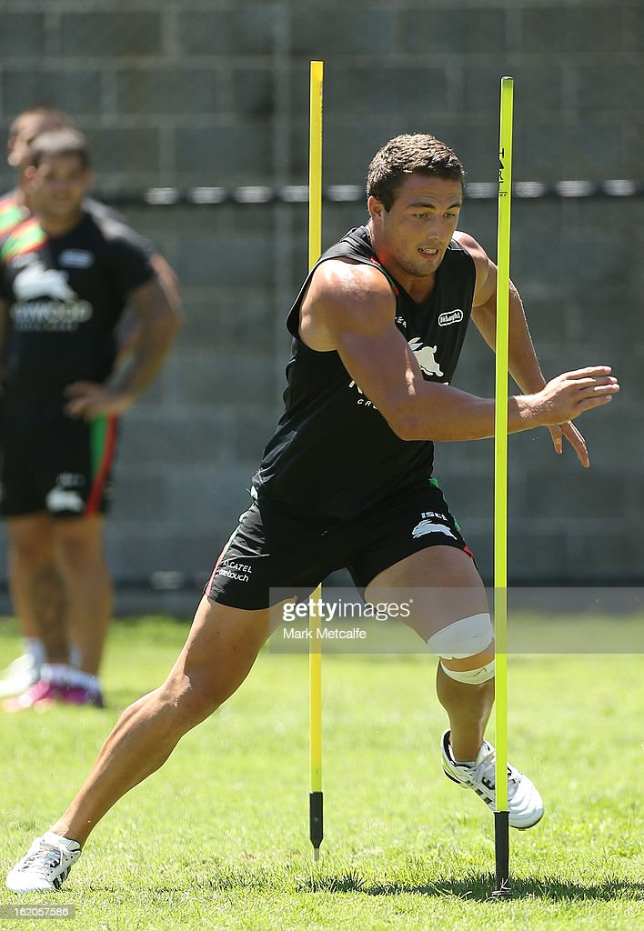 Sam Burgess performs a fitness drill during a South Sydney Rabbitohs NRL training session at the National Centre for Indigenous Excellence on February 19, 2013 in Sydney, Australia.