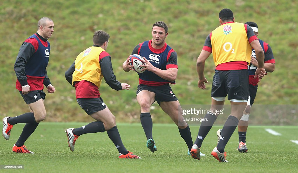 Sam Burgess runs with the ball during the England training session at Pennyhill Park on March 17, 2015 in Bagshot, England.