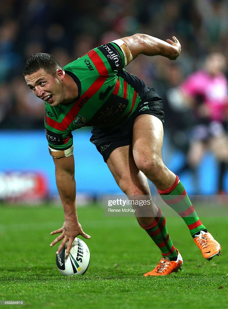 <a gi-track='captionPersonalityLinkClicked' href=/galleries/search?phrase=Sam+Burgess&family=editorial&specificpeople=2650353 ng-click='$event.stopPropagation()'>Sam Burgess</a> scores a try during the round 22 AFL match between the South Sydney Rabbitohs and the Manly Sea Eagles at Sydney Cricket Ground on August 8, 2014 in Sydney, Australia.