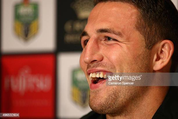 Sam Burgess speaks to the media during a South Sydney Rabbitohs press conference at Sydney International Airport on November 11 2015 in Sydney...