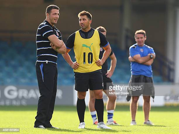 Sam Burgess the new signing for Bath Rugby alongside Gavin Henson during a Bath training session at the Recreation Ground on October 31 2014 in Bath...