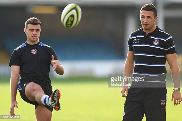 Sam Burgess the new signing for Bath Rugby alongside George Ford during a Bath training session at the Recreation Ground on October 31 2014 in Bath...