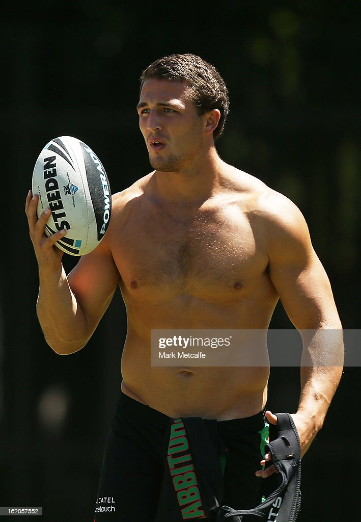 <a gi-track='captionPersonalityLinkClicked' href=/galleries/search?phrase=Sam+Burgess&family=editorial&specificpeople=2650353 ng-click='$event.stopPropagation()'>Sam Burgess</a> warms up during a South Sydney Rabbitohs NRL training session at the National Centre for Indigenous Excellence on February 19, 2013 in Sydney, Australia.