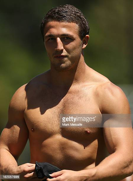 Sam Burgess warms up during a South Sydney Rabbitohs NRL training session at the National Centre for Indigenous Excellence on February 19 2013 in...