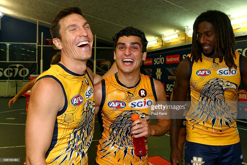 Sam Butler and Thomas Cole of the Eagles celebrate winning the round 10 AFL match between the West Coast Eagles and the Gold Coast Suns at Domain Stadium on May 29, 2016 in Perth, Australia.