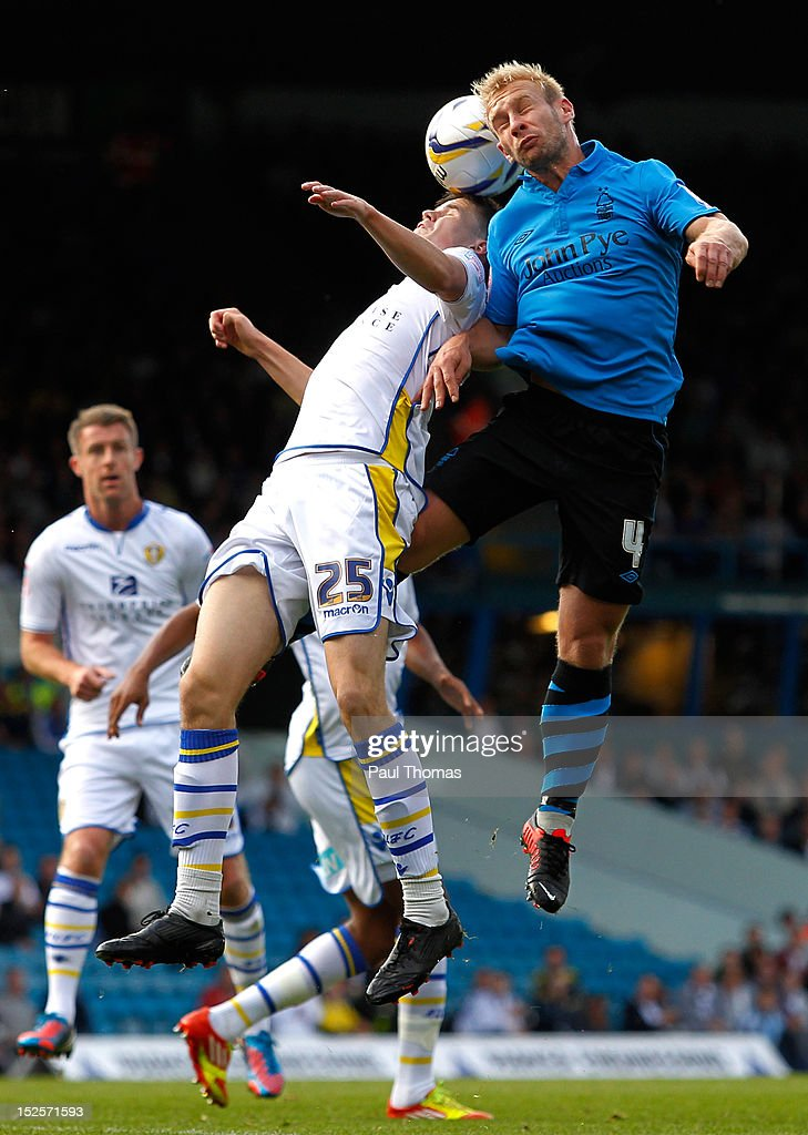 Sam Byram of Leeds in action with Simon Gillett (R) of Nottingham during the npower Championship match between Leeds United and Nottingham Forest at Elland Road on September 22, 2012 in Leeds, England.