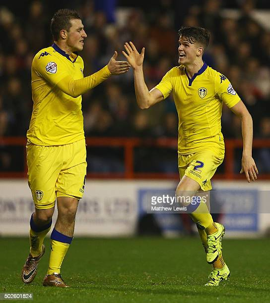 Sam Byram of Leeds United celebrates his goal with Chris Wood during the Sky Bet Championship match between Nottingham Forest and Leeds United on...