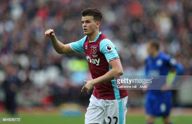 Sam Byram of West Ham during the Premier League match between West Ham United and Leicester City at London Stadium on March 18 2017 in Stratford...