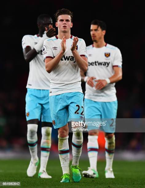 Sam Byram of West Ham Unite shows appreciation to the fans after the Premier League match between Arsenal and West Ham United at the Emirates Stadium...