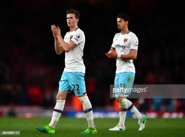 Sam Byram of West Ham United applauds supporters during the Premier League match between Arsenal and West Ham United at the Emirates Stadium on April...