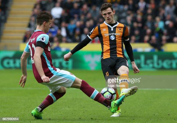 Sam Byram of West Ham United attempts to stop Andrew Robertson of Hull City during the Premier League match between Hull City and West Ham United at...