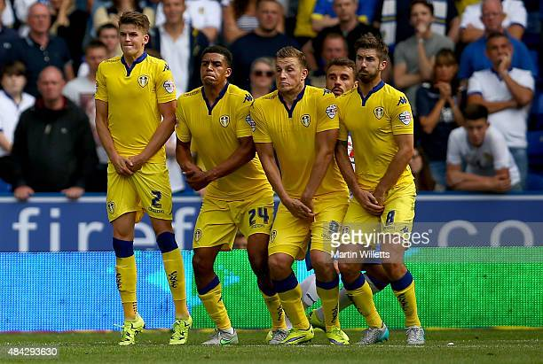 Sam Byram Tom Adeyemi Chris Wood and Luke Murphy of Leeds United form defensive wall to defend a freekick during the Sky Bet Championship match...