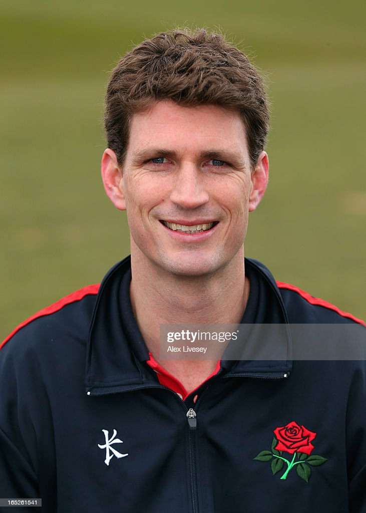 Sam Byrne the Team Physiotherapist of Lancashire CCC during a pre-season photocall at Old Trafford on April 2, 2013 in Manchester, England.