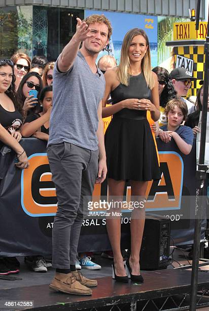 Sam Caflin and Renee Bargh are seen on April 22 2014 in Los Angeles California