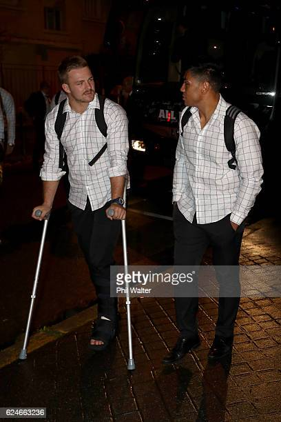 Sam Cane and Malakai Fekitoa of the New Zealand All Blacks chat as they arrive at the Movenpick Hotel on November 20 2016 in Paris France Cane and...
