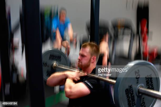 Sam Cane of the All Blacks during a New Zealand All Blacks gym session on September 21 2015 in London United Kingdom