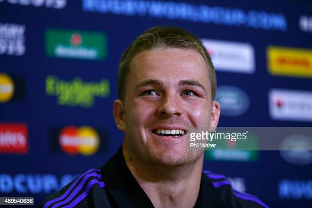 Sam Cane of the All Blacks during a New Zealand All Blacks media session at the Lensbury on September 22 2015 in London United Kingdom