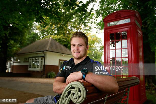Sam Cane of the All Blacks poses for a portrait during a New Zealand All Blacks media session at the Lensbury on September 15 2015 in London United...