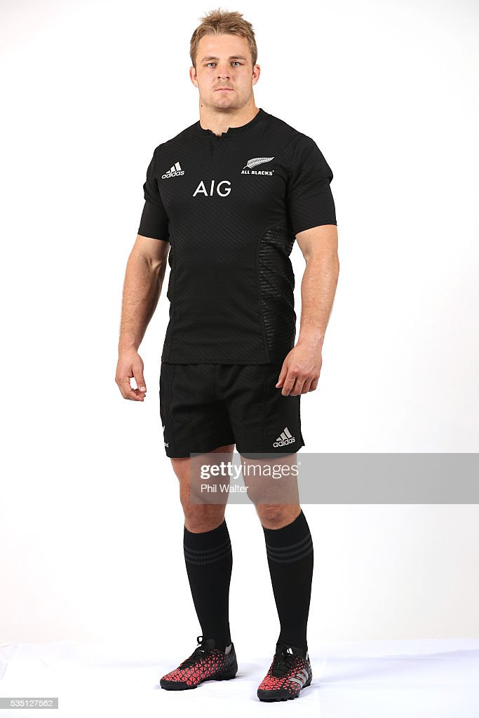 Sam Cane of the All Blacks poses for a portrait during a New Zealand All Black portrait session on May 29, 2016 in Auckland, New Zealand.