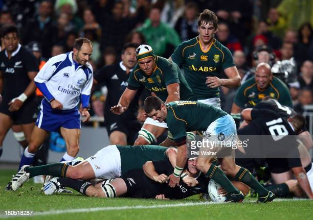 Sam Cane of the All Blacks scores a try during The Rugby Championship match between the New Zealand All Blacks and the South African Springboks at...