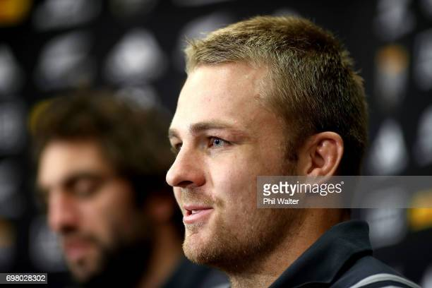 Sam Cane of the All Blacks speaks to the media during a New Zealand All Blacks press conference at Trusts Stadium on June 20 2017 in Auckland New...