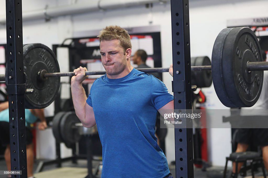 <a gi-track='captionPersonalityLinkClicked' href=/galleries/search?phrase=Sam+Cane&family=editorial&specificpeople=7799288 ng-click='$event.stopPropagation()'>Sam Cane</a> of the All Blacks squats during a gym session at Les Mills on May 30, 2016 in Auckland, New Zealand.