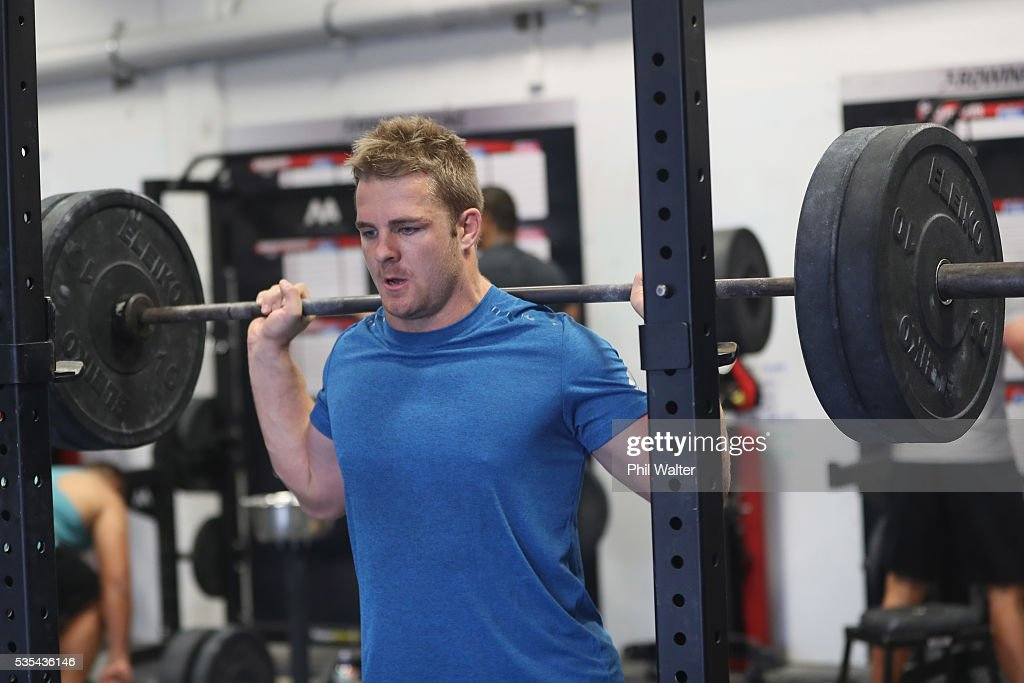 Sam Cane of the All Blacks squats during a gym session at Les Mills on May 30, 2016 in Auckland, New Zealand.