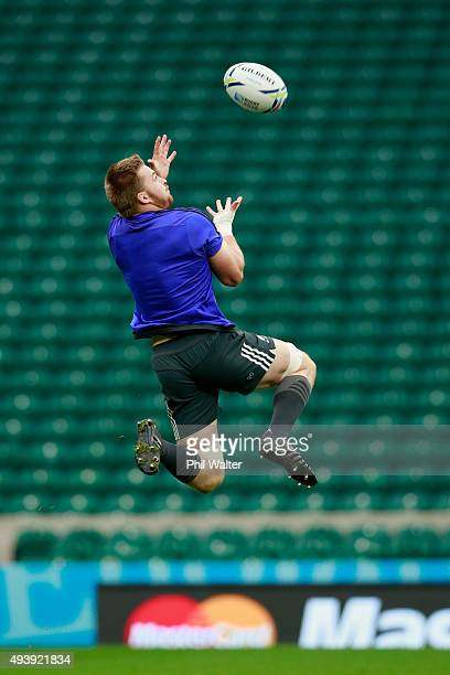Sam Cane of the All Blacks takes a catch during a New Zealand All Blacks Captain's Run at Twickenham Stadium on October 23 2015 in London United...