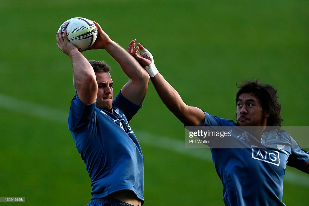 Sam Cane of the All Blacks (L) takes the ball in the lineout ahead of Steven Luatua during a New Zealand All Blacks training session at North Harbour Stadium on July 31, 2014 in Auckland, New Zealand.