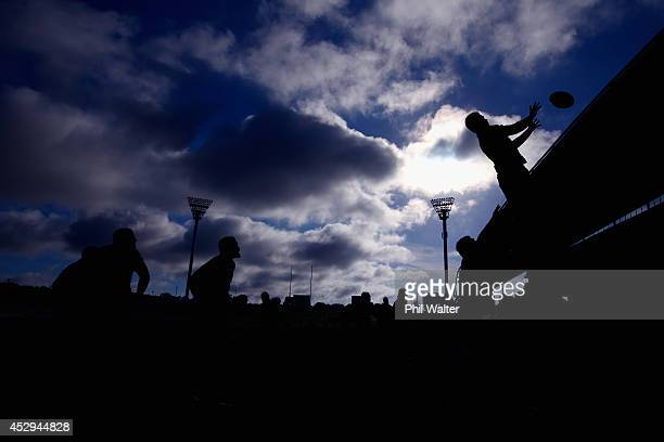 Sam Cane of the All Blacks takes the ball in the lineout during a New Zealand All Blacks training session at North Harbour Stadium on July 31 2014 in...