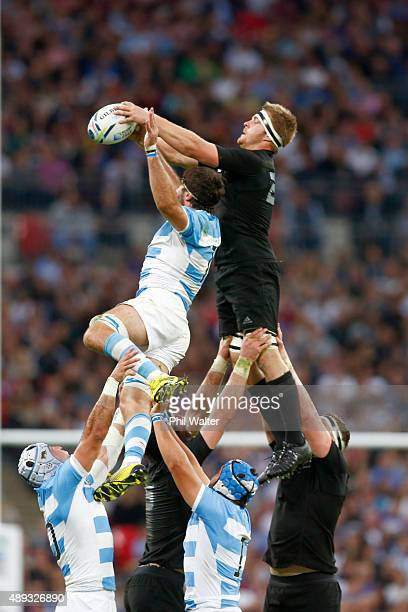 Sam Cane of the All Blacks takes the ball in the lineout during the 2015 Rugby World Cup Pool C match between New Zealand and Argentina at Wembley...