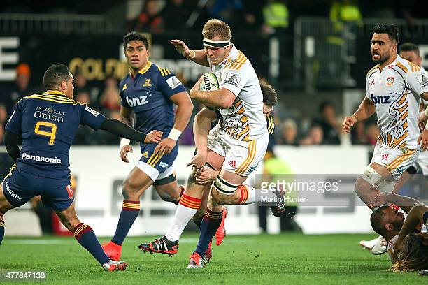 Sam Cane of the Chiefs jumps out of a tackle during the Super Rugby Qualifying Final match between the Highlanders and the Chiefs at Forsyth Barr...