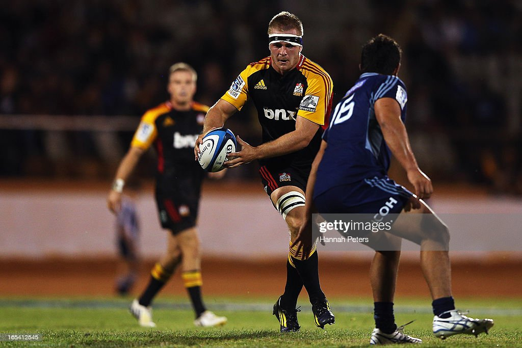Sam Cane of the Chiefs makes a break during the round seven Super Rugby match between the Chiefs and the Blues at Bay Park on March 30, 2013 in Tauranga, New Zealand.