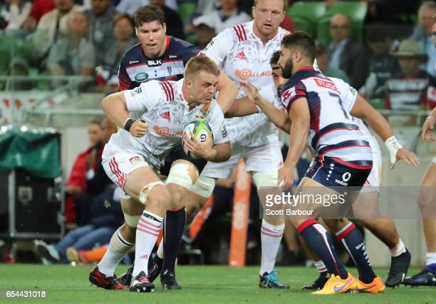 Sam Cane of the Chiefs runs with the ball during the round four Super Rugby match between the Rebels and the Chiefs at AAMI Park on March 17 2017 in...