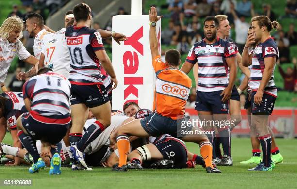 Sam Cane of the Chiefs scores a try during the round four Super Rugby match between the Rebels and the Chiefs at AAMI Park on March 17 2017 in...